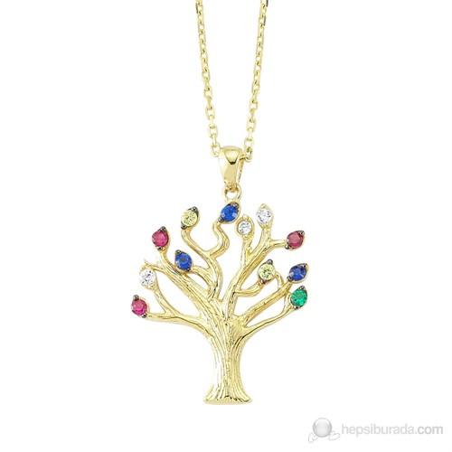 Mardeluz Altın Taşlı Hayat Ağacı Kolye MDLZ1548