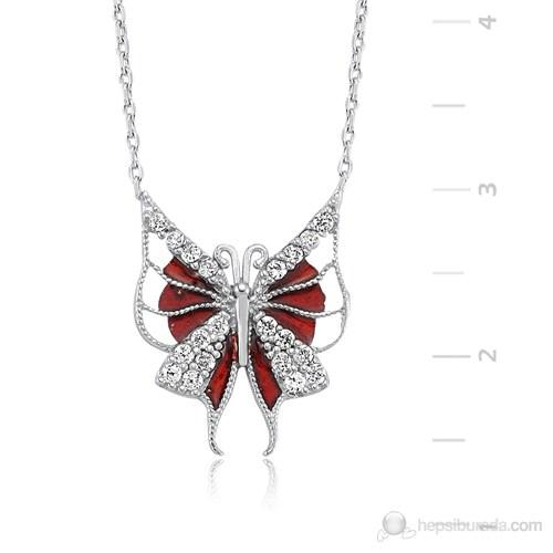 Gumush 925 Zirkon Taşlı Gümüş Kırmızı Kelebek Kolye | PT2420017