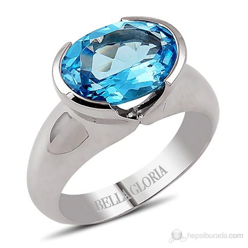 Bella Gloria Oval Mavi Topaz Gümüş Yüzük (GPY0011)