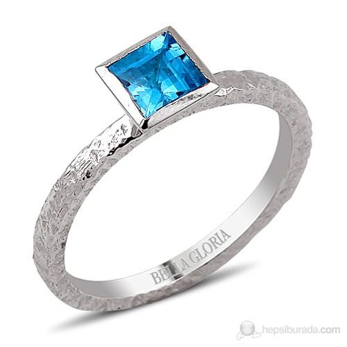 Bella Gloria Kare Mavi Topaz Gümüş Yüzük (GPY0013)