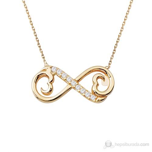 Allegrogold 14 Ayar Altın Sonsuz Kalp Kolye Alk0078