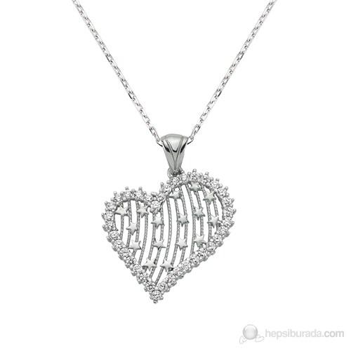 Bayan Lili Zirkon Taşlı Gümüş Kalbimin Yıldızı Kolye