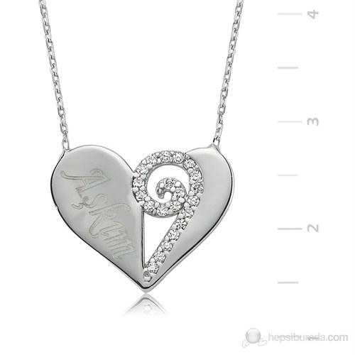 Gumush 925 Zirkon Taşlı Aşkım Kalp Gümüş Kolye