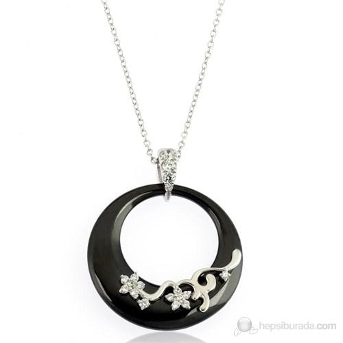 Bayan Lili 925 Ayar Gümüş Yuvarlak Seramik Taşlı Kolye