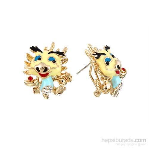 Lochers Altın Kaplama Dragon Desenli Kristal Taşlı Bayan Küpe
