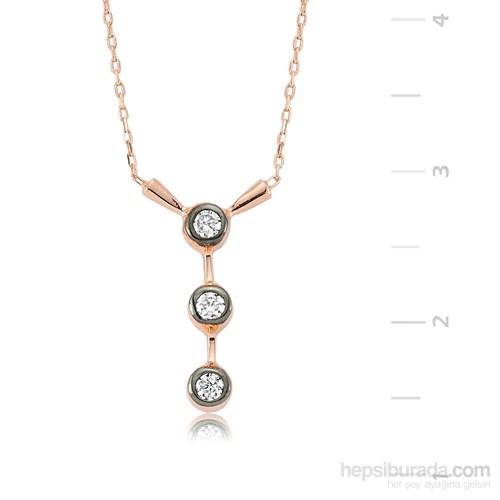 Gumush 925 Sıralı Üç Taş Gümüş Kolye