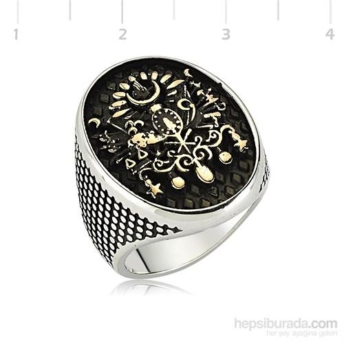 Tekbir Silver 925 Osmanlı Armalı Gümüş Erkek Yüzük