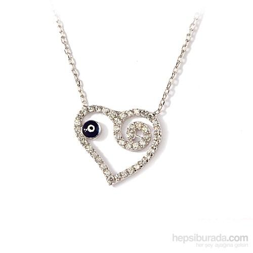 Ejoya Nazarlı Kalp Gümüş Kolye