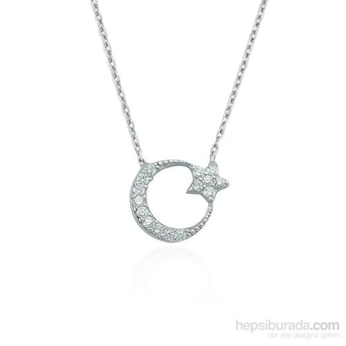 Glorria 925 Ayar Gümüş Ay Yıldız Kolye