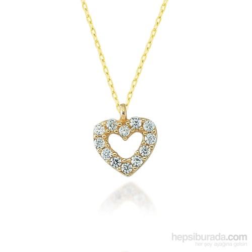Glorria 14 Ayar Altın Taşlı Kalp Kolye