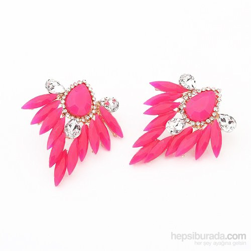 Bee One Pembe Damla Model Bijoux Küpe Cb94