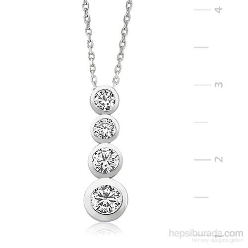 Gumush 925 Dört Taş Gümüş Kolye