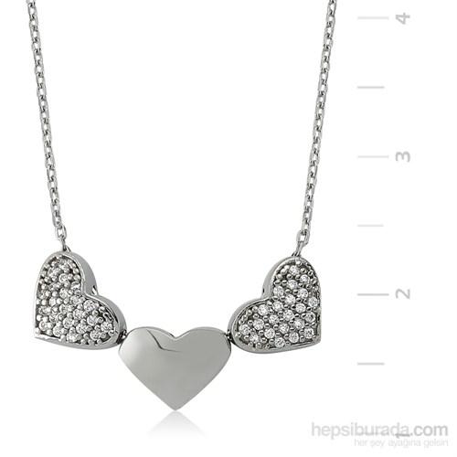 Gumush 925 Üç Kalp Gümüş Kolye