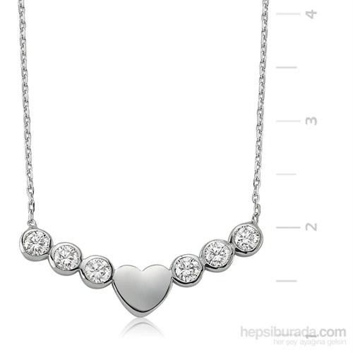 Gumush 925 Tektaş Kalp Gümüş Kolye