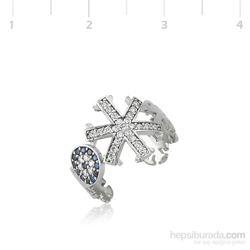 Gumush 925 Nazarlı Kar Tanesi Gümüş Yüzük