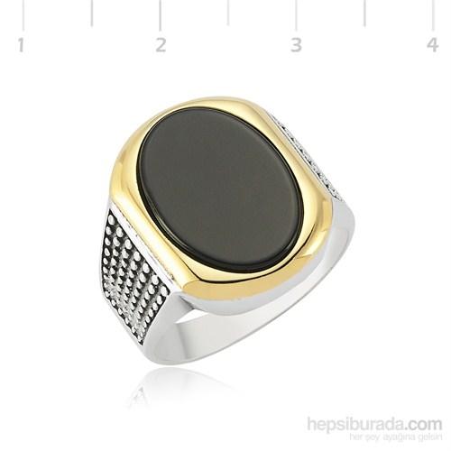 Tekbir Silver 925 Onix Sarı Yaldız Gümüş Yüzük