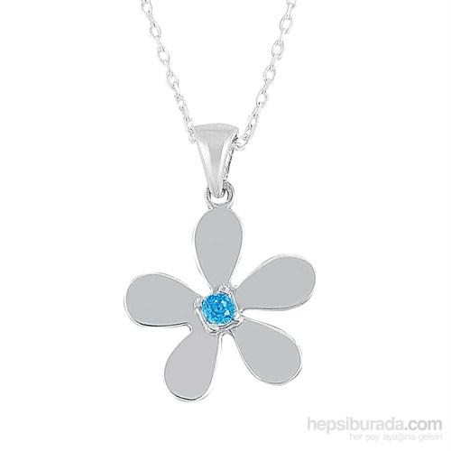 Argentum Mavi Taşlı Çiçek Kolye