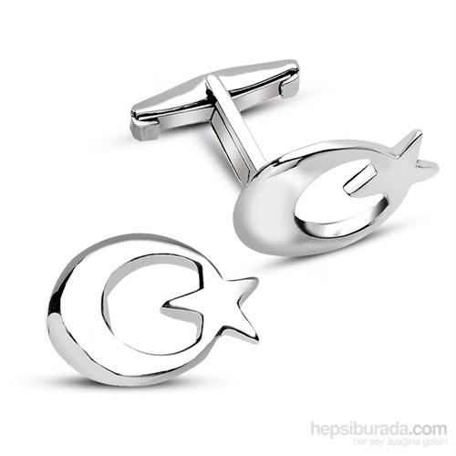 Tesbihane 925 Ayar Gümüş Ayyıldız Kol Düğmesi