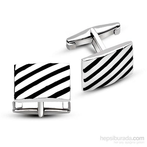 Tesbihane 925 Ayar Gümüş Çapraz Şerit Tasarımlı Kol Düğmesi