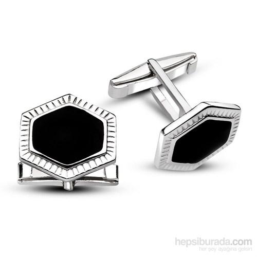 Tesbihane 925 Ayar Gümüş Düz Oniks Taşlı Kol Düğmesi