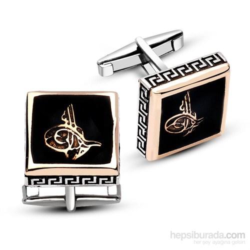 Tesbihane 925 Ayar Gümüş Oniks Taşı Üzerine Tuğra Model Kare Kol Düğmesi