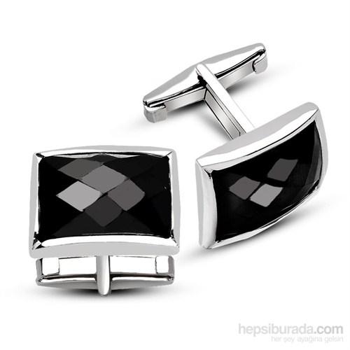 Tesbihane 925 Ayar Gümüş Siyah Zirkon Taşlı Kol Düğmesi