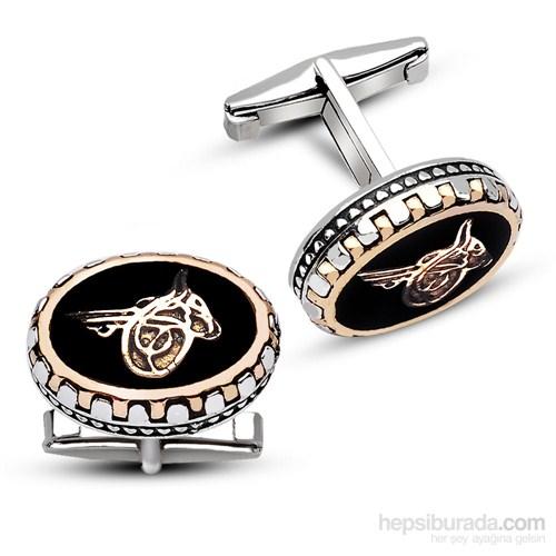 Tesbihane 925 Ayar Gümüş Tuğralı Kol Düğmesi