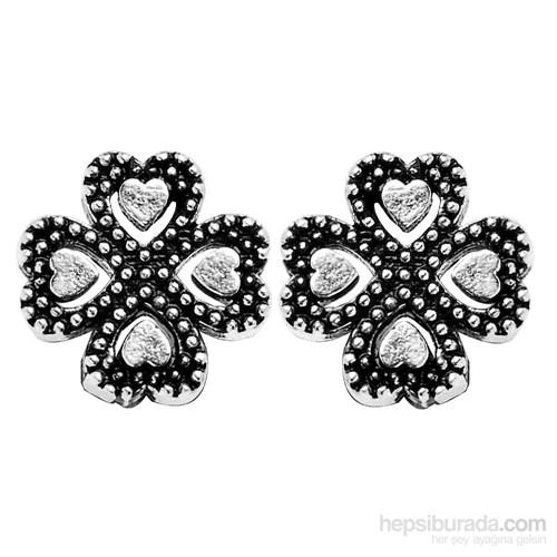 Tesbihane 925 Ayar Gümüş Kalp Küpe
