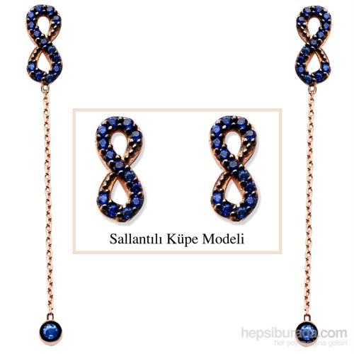 Tesbihane 925 Ayar Gümüş Mavi Zirkon Taşlı Sonsuzluk Model Japon Sallantılı Küpe