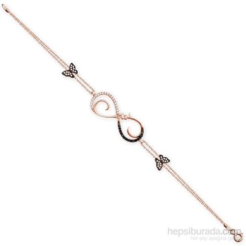 Tesbihane 925 Ayar Gümüş Roze Kaplamalı Aşk Yazılı Bileklik