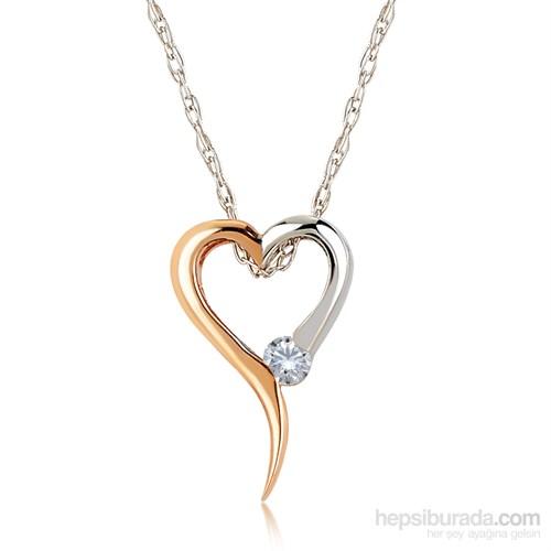 Divas Love 14 Ayar Altın 0,02 Ct. Pırlantalı Kalp Altın Kolye