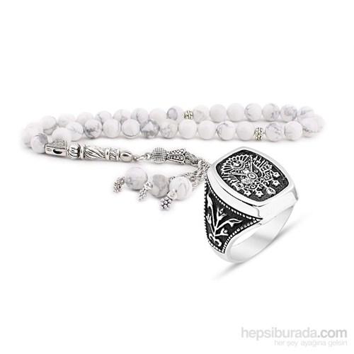 Tesbihane Küre Kesim Havlit Tesbih Ve 925 Ayar Gümüş Adanlı Dizisi Yüzüğü