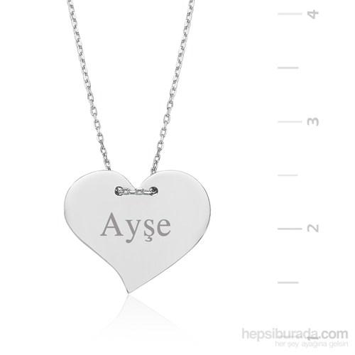 Gumush Gümüş İsim Yazılabilen Kalp Kolye