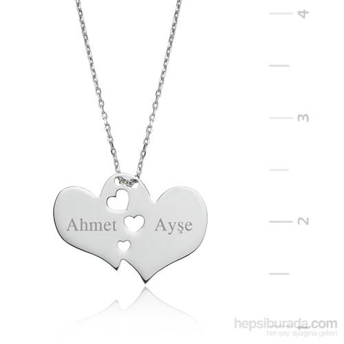 Gumush Gümüş İsim Yazılabilen İki Kalp Kolye