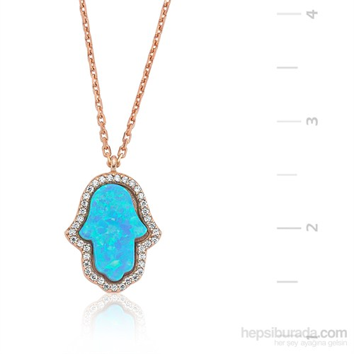 Gumush Mavi Opal Taş Fatma'nın Eli Gümüş Kolye