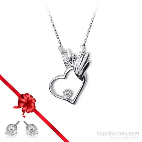 Ejoya Kanatlı Kalp Gümüş Kolye