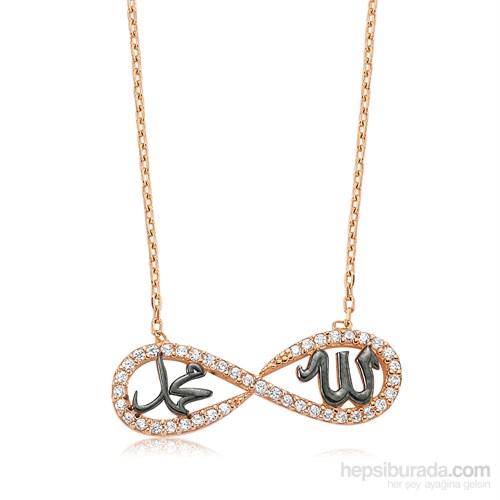 Gumush Gümüş Allah Muhammed Yazılı Sonsuzluk Kolye