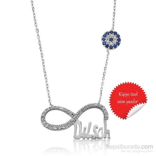 Gumush Nazar Boncuklu İsimli Gümüş Kolye