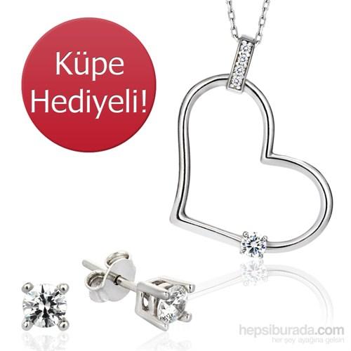 Bayan Lili Zirkon Crystal® Taşlı Kalp Gümüş Kolye- Tektaş Küpe Hediyeli (TKBALKALPKOLYE)