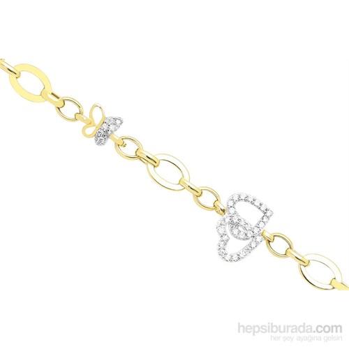 Melis Gold Altın Kalpli Kelebek Bileklik Blk20141