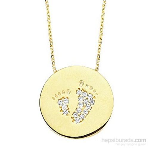 Melis Gold Altın Plaka Ayak Kolye Kly00797