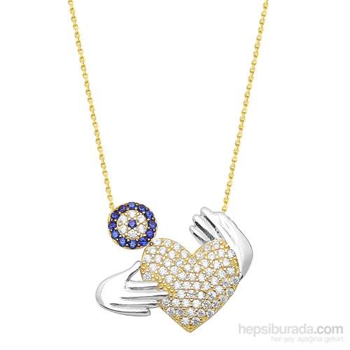 Melis Gold Altın Kalpli Nazar Kolye Kly00853