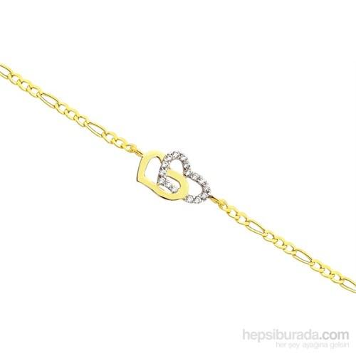 Melis Gold Altın Kalpli Bileklik Zb000035