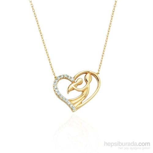 Glorria 14 Ayar Altın Kalp Annem Kolye