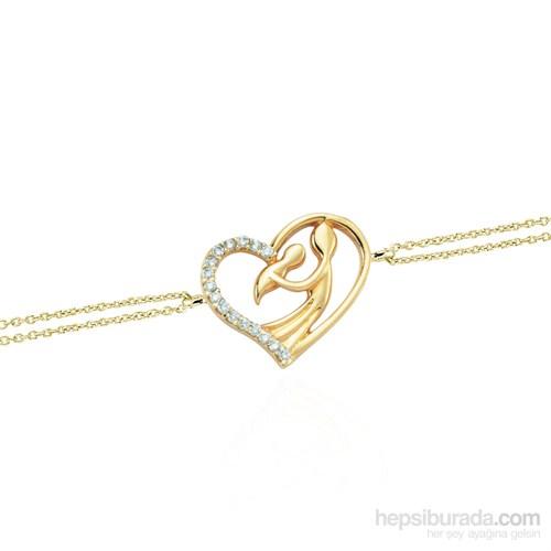 Glorria 14 Ayar Altın Kalp Annem Bileklik