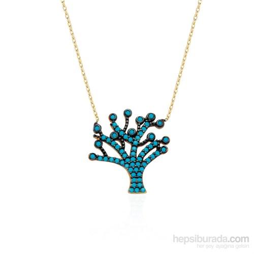 Glorria 14 Ayar Altın Firuze Taşlı Hayat Ağacı Kolye