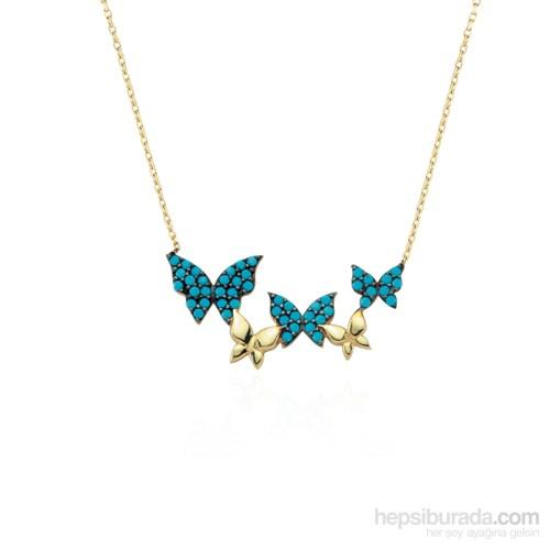 Glorria 14 Ayar Altın Firuze Taşlı Kelebek Kolye