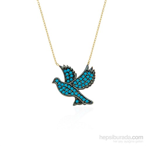 Glorria 14 Ayar Altın Firuze Taşlı Güvercin Kolye