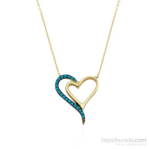 Glorria 14 Ayar Altın Firuze Taşlı Kalp Kolye