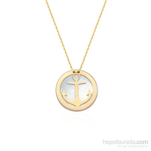 Glorria 14 Ayar Altın Sedefli Çapa Kolye